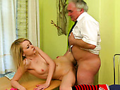 Wanton blond hooker with tiny breasts blows sugary cock o fat old man