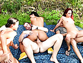 Three crazy swinger couples having sex fun in the garden
