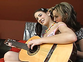 Sizzling teen having sex fun with sexy female guitar teacher