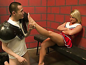 Lustful cheerleader blonde is going to serve group of horny dudes