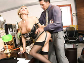 Kinky boss has steamy oral sex with his hot blond secretary in the office