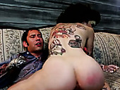 Evil raven haired MILF with ugly make up blows sugary cock of young man