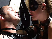 Salacious whores Ionie Luvcoxx and Jessica Love give blowjob to tied up dude