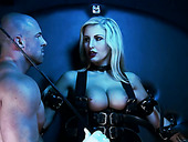 Tied up and belted blonde with big boobs and juicy lips is fucked by brutal master