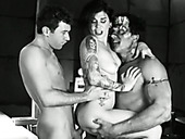 Duo of hot blooded freaks bang one slutty tattooed hottie rough