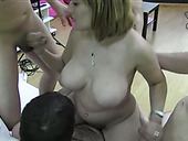 Busty fair haired mom let kinky studs destroy her fuck holes