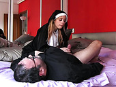 Fat 4 eyed priest fucks his wanton nun in various poses hard