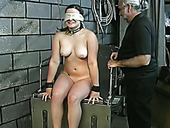 Lustful coed Angelina gets her pussy toyed in a weird BDSM way