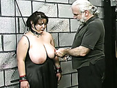Huge boobed BBW slut getting her balloons tied up in bondage porn video