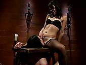 Brunette mistress makes restrained gal lick her shaved muff