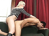 Ugly blond haired tranny ass fucks her skinny cute man from behind hard