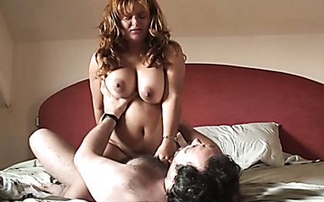 Chubby fair haired bitch with huge tits gets cum shot on face after hard fuck