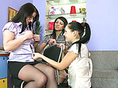 Missy and Lera start teen lesbian session right in front of their tutor