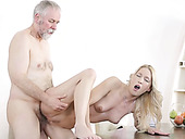 Super hot prostitute with perky tits is having sex with an old fart