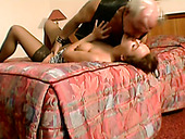 Scorching hooker makes her old client eat her pussy