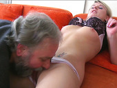 Horny BF lets fat bearded old man eat pussy of his busty blonde girl