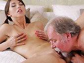 Older man properly fucks cute pigtailed brunette Marisa's twat doggy