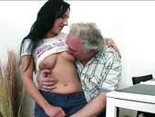 Skanky girl Ami lets her BF's grandpa eat her pussy