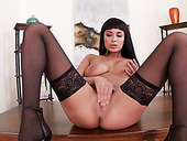 Naughty busty brunette babe Anissa Kate tickles her wet juicy pussy