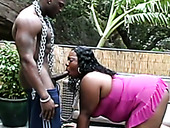 Dirty-minded dark skinned BBW sucks two black dicks with pleasure (MMF)