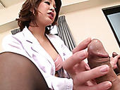 Sexy Japanese nurse Erika Nishino having fun with two patients