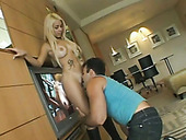 Busty Hispanic temptress in knee high boots is good at giving blowjobs
