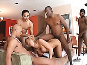 Four furious neighbors fuck all holes of sex-crazy bitch