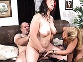 Two chubby girlfriends ride one hard cock and give blowjob