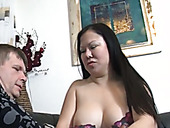 Chubby maid polishes cock and gets her fat pussy rammed hard
