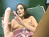 Charming porn model Venus pissing and fucking her slit with big fake cock