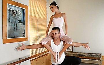 Ballet dancer turns on and licks feet of one pure like angel ballerina