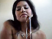 Using metal dildo webcam brunette hottie masturbates her wet pussy