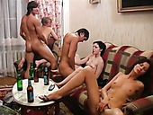 Hot tempered students fuck naughty chicks after party