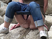 Dark haired slutty chicks show off dirty pissing compilation outdoors