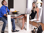 Gorgeous blonde in stockings give footjob to one submitted dude