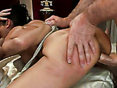 Three furious neighbors drill perverted brunette with amazing ass