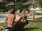 Unforgettable blowjob and orgy near the pool with hot chicks in bikini