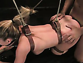 Anal-insane chick Aline is tied up and fucked anally