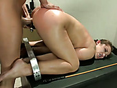 Restrained oiled up whore Dani Daniels is toyed and fucked in doggy pose
