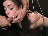 Seductive suspended brunette with hook in her anus is punished in torture room