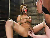 Gagged humble brunette Sativa Rose gets twat fucked by Mark Davis