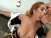 Spoiled tied up ginger nympho stands on knees and gives nice blowjob