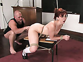 Bald headed stud makes tied up redhead suck his strong massive cock