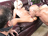 Perverted cuckold watched his hot blondie blowing big thick sausage