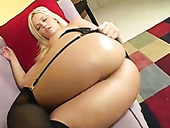 Busty sweet blondie in sexy stockings performs solid deep throat to her buddy