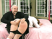 Old fart is spanking big ass of plum blond chick