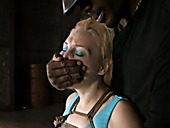 Black master examines white pussy of one appetizing tied up blonde