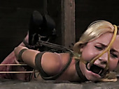 Nasty blonde Odette Delacroix is tied before pussy torturing