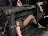 Brave and kinky brunette girl is sexually tortured in dirty BDSM porn clip