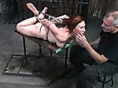 Tied up redhead slut Catherine is throat fucked brutally in hardcore BDSM porn clip